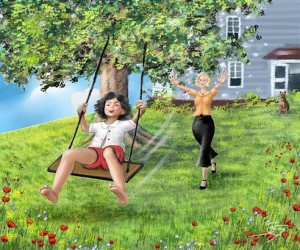 Illustration from The Little Apple, Allie on swing with mommy pushing